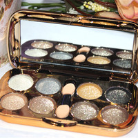 Glitter Eyeshadow Powder Makeup Palette Set 8 Colors Cosmetic With Brush Mirror
