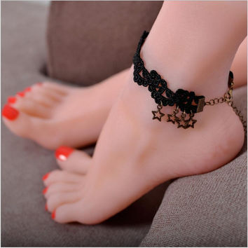 Handmade Gothic Vintage Ankle Bracelet Foot Jewelry Sexy Black Lace Anklets Star Penadnt For Women C595