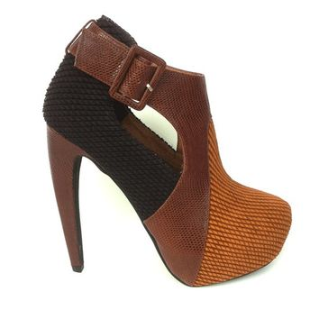 Jeffrey Campbell – Statement Sledge Platform Pump In Brown/Multi | Thirteen Vintage