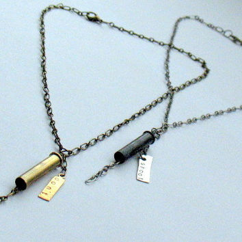 Lariat Bolo Style Necklace, LyricRabbit Don't Shoot Bullet Casing Necklace in Pewter Gunmetal, Stamped Metal Tag, Anti-Violence