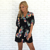 Midnight Jungle Floral Romper