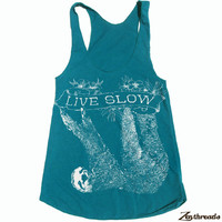 Womens SLOTH 2 (Live Slow)  american apparel Tri-Blend Racerback Tank Top S M L (8 Color Options)