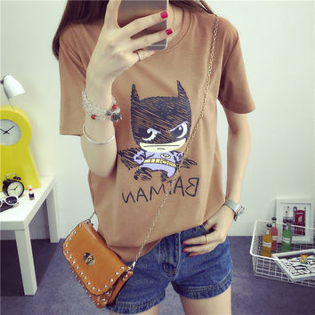 Blusa Sale 2016 Summer Style Women T-shirt Batman Printed Tees Super Hero Basic Harajuku Bottoming Tops Free Shipping