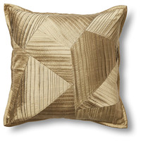 Pleated 18x18 Silk Pillow, Gold, Decorative Pillows