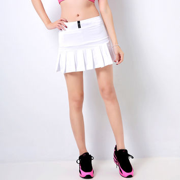 Good Quality Women's High Elastic Cotton Pleated Skirts Skorts Cheering Aerobics Skirt culottes female