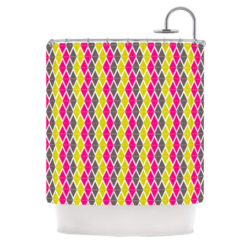 "Nandita Singh ""Bohemian"" Pink Yellow Shower Curtain"