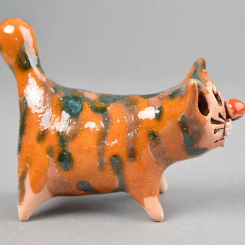 Cat statue handmade decorations ceramic figurine cat decor gift ideas for girl