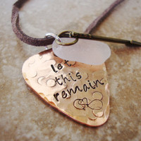 Let this remain hand stamped copper guitar pick necklace with arrow charm and sea glass