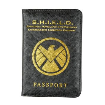 HEQUN Marvel Avengers Passport Cover Rfid Black Pu Leather Hydra Passport Holder Multifunctional Shield Travel Passport Case New