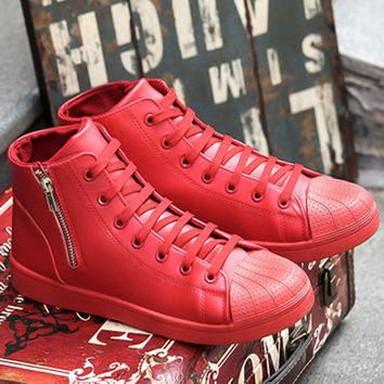 Shell Toe High Top Lace Up Sneakers