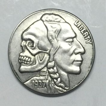 Hobo Nickel 1937-D 3-LEGGED BUFFALO NICKEL COIN HALF SKULL INDIAN