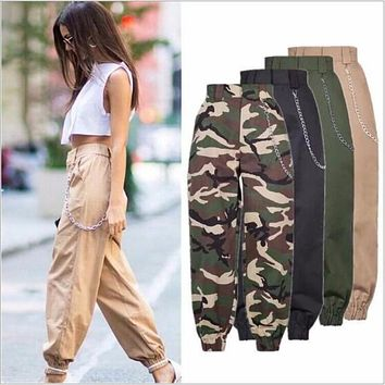 WKOUD Camouflage Casual High Waist Cargo Pants Trousers