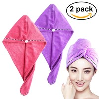 FRCOLOR 2pcs Hair Drying Towel Ultra Water Absorbent Twist Hair Turban Drying Cap Hair Wrap