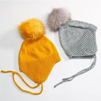 2017 Baby Autumn Winter Fashion Hat Knit Cotton Warm Caps Kids Beanie Children Big Ball Hooded Hat Pure Color Boy Girl Cute Hats