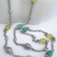 Judith Ripka Sterling Silver Celadon Jade and Limon Quartz Diamonique CZ Station Necklace 36""