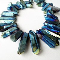 Blue Gold Titanium Quartz Crystal Spikes, Blue  Points Drilled Drusy Drusy Briolettes 10 Pieces Beads