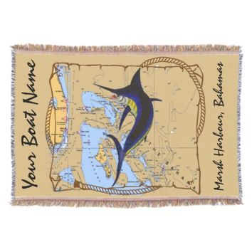 Bahamas Marlin Throw Blanket