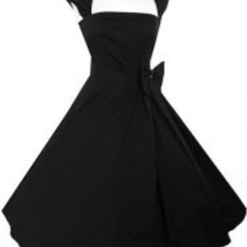 Vintage Turn-Down Collar Sleeveless Bowknot Dress