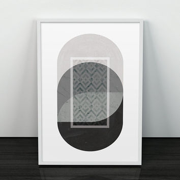 Abstract wall art, Geometric print, Mid century modern, Black and white art, Monochrome, Scandinavian print, Nordic design, Modern poster