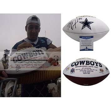 Tyrone Crawford Autographed Dallas Cowboys Embroidered Logo Football, Proof Photo, Beckett S38217