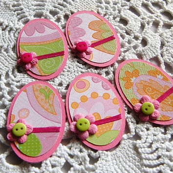 Easter Egg Embellishment for Scrapbooking, Card Making, Altered Art,  Pink Party Decoration