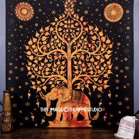 Orange Elephant Tapestry, Queen Elephant Tree Tapestry Wall Hanging, Indian Bedspread, Hippie Tapestry, Bohemian Throw Ethnic Home Decor