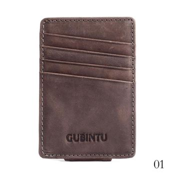 Cool Men s Leather Money Clip Slim Pocket Wallet Credit Card ID Holder