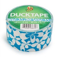 Blue Surf Flower Duck® brand Duct Tape 1.88 in. x 10 yds
