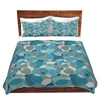 Duvet Cover Brushed Twill Twin, Queen, King SETs DiaNoche Designs Julia Grifol - Bubbles Blue