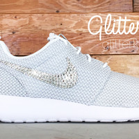 Nike Roshe One Customized by Glitter Kicks - WHITE/GRAY/METALLIC PLATIMUM