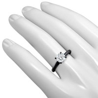 0.55Ct Si-1 G Round Natural Diamond Engagement Ring 14K Black Gold