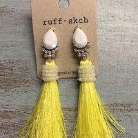 Yellow Wrapped Tassel Earrings