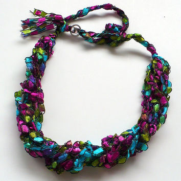 Crocheted Ribbon Necklace, Ladder Yarn Necklace, Bright Jewel Tones Ribbon Necklace