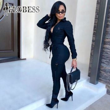 2019 Autumn Safari Style Fashion Rompers Womens Military Jumpsuit Sexy Zippers Casual Long Sleeve Jumpsuit Female Overalls