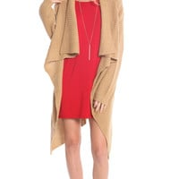 TAUPE ASYMMETRICAL DRAPED KNIT CARDIGAN