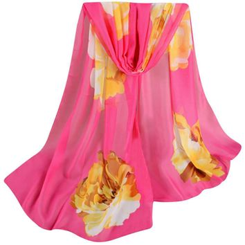 Fashion Chiffon Scarf Spring Lady Women Floral Prints Shawl Female Pashmina Blanket Wraps135cm-175cm
