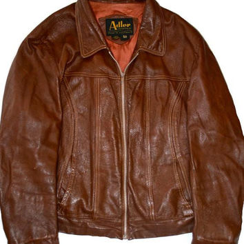 Vintage Adler Leather Cafe Racer Motorcycle Jacket Size 50 (Large)