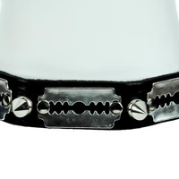 Razor Blade Leather Choker with German Spikes Studs Necklace