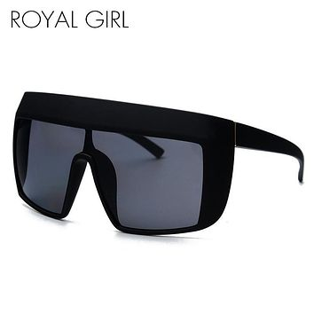 ROYAL GIRL Oversize Acetate Sunglasses Women flat top Square Sun glasses Retro Glasses ss109