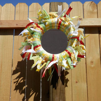 RIBBON WRAPPED MIRROR Wreath Shabby Chic Home Decor Wall Door Tabletop Decorations Yellow Green White Orange