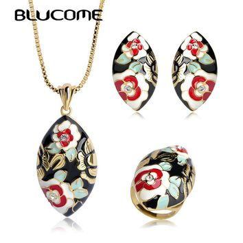 Blucome High Quality Big Pendant Necklace Earrings Ring Set White Red Enamel Flower Shape Jewelry Sets Gold Color Women Bijoux