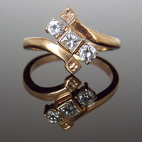 Victorian Bypass Diamond Cocktail Ring with Princess Cut Diamond Toi Et Moi Antique Vintage Unique Engagement Ring RGDI38