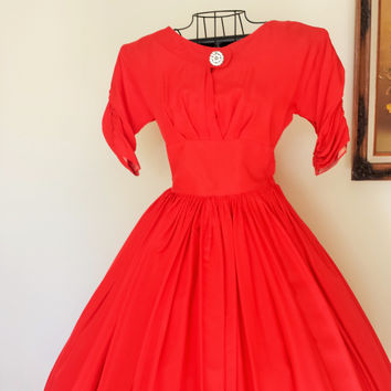 Vintage 1940s Red Taffeta Party Dress, with Rhinestone Broach