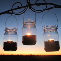 6 DIY Lanterns WIDE Mouth Mason Jar Hangers, Ball Jar Lantern Hangers Only -No Jars