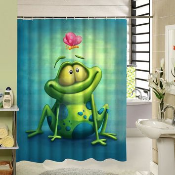 Cartoon Frog Shower Curtain Polyester Eco-friendly Waterproof Mildewproof Fabric Home Bath Products For Kids