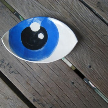 Blue Eye Dish - Oblong Ceramic Dish - Functional Art - Ceramics and Pottery - Small Serving Plate