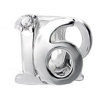 ".925 Sterling Silver ""Number 16 Sixteen 16th Birthday Sweet Sixteen"" Charm Bead Compatible with Pandora Chamilia Troll Charm Bracelet"