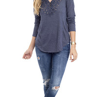 Long Sleeve Embroidered Henley