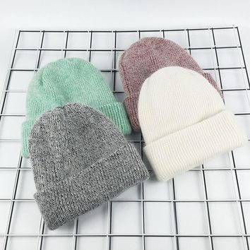 WENDYWU Winter Hat for Women Rabbit Cashmere Knitted Beanies Thick Warm Vogue Ladies Wool Angora Hat Female Beanie Hats