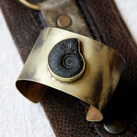 wide brass black ammonite fossil cuff - heat treated tie dye effect - boho chic - tribal - organic
